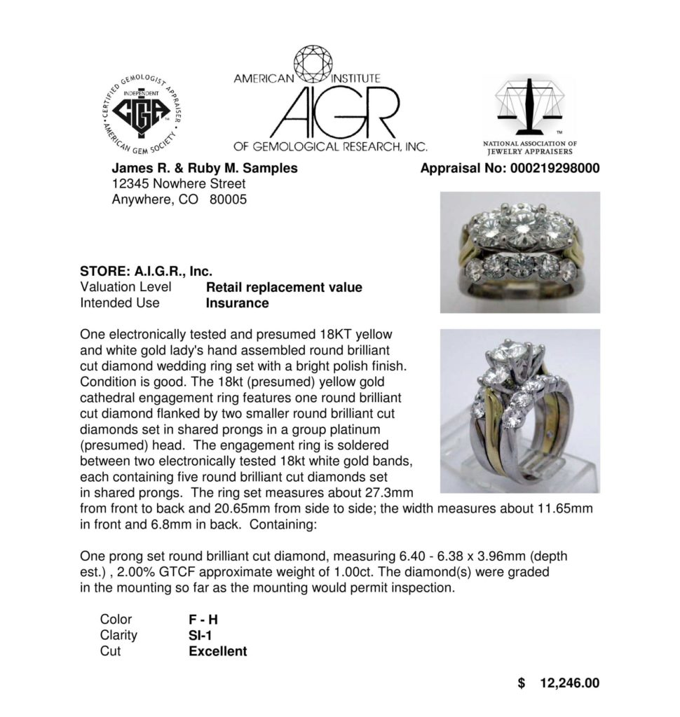 AIGR sample appraisal of a diamond ring including precious metal and gemstone detail.