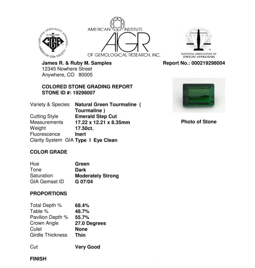 AIGR sample colored gemstone grading report with green tourmaline detail.