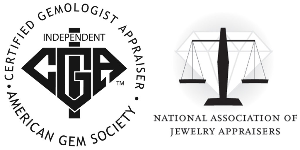 Logos for American Gem Society Certified Gemologist Appraiser and National Association of Jewelry Appraisers.