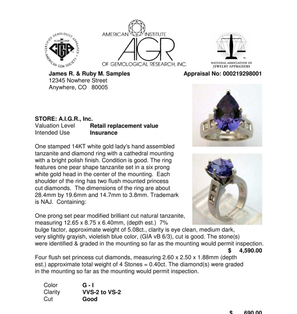 AIGR sample appraisal of a tanzanite ring including precious metal and gemstone detail.