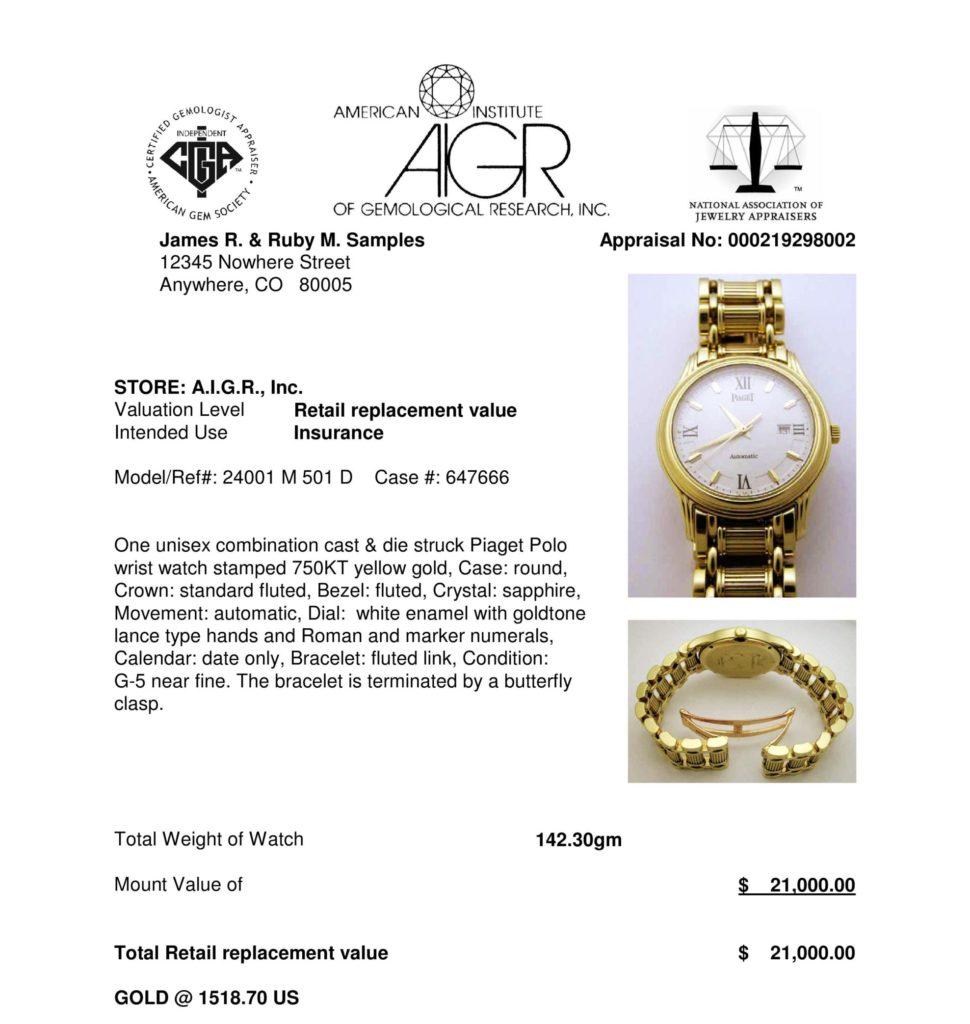 AIGR sample timepiece appraisal of yellow gold wrist watch.