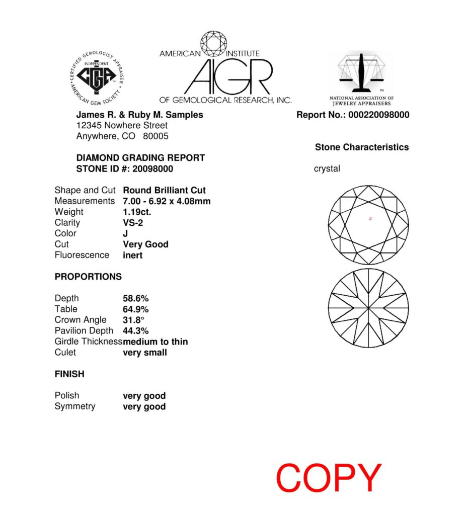 Diamond grading report